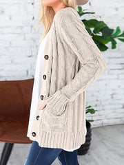 Color=Beige | Casual Warm Knitwear Buttoned Up Cardigan For Women-Beige 3