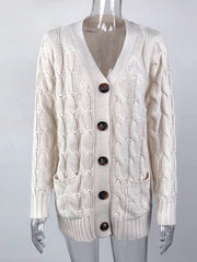 Color=Beige | Casual Warm Knitwear Buttoned Up Cardigan For Women-Beige 4