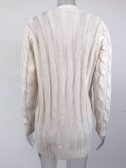 Color=Beige | Casual Warm Knitwear Buttoned Up Cardigan For Women-Beige 5