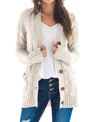 Color=Beige | Casual Warm Knitwear Buttoned Up Cardigan For Women-Beige 1