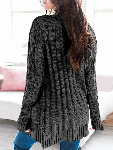 Color=Black | Casual Warm Knitwear Buttoned Up Cardigan For Women-Black 2