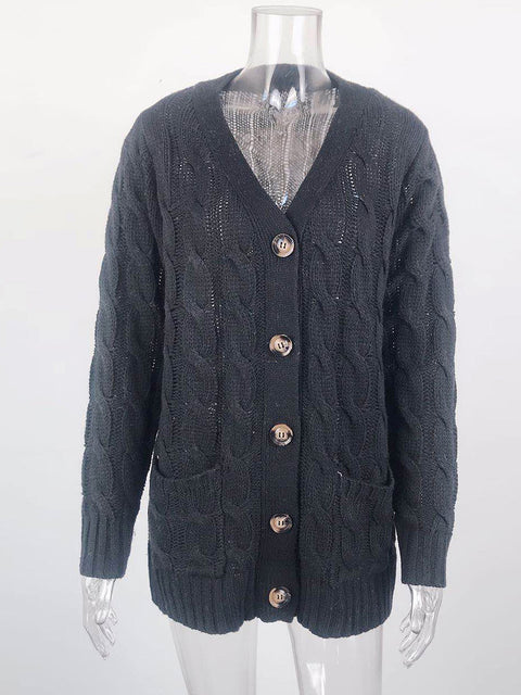 Color=Black | Casual Warm Knitwear Buttoned Up Cardigan For Women-Black 3