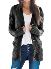 Color=Black | Casual Warm Knitwear Buttoned Up Cardigan For Women-Black 1