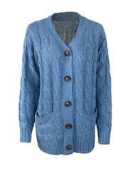 Color=Blue | Casual Warm Knitwear Buttoned Up Cardigan For Women-Blue 4
