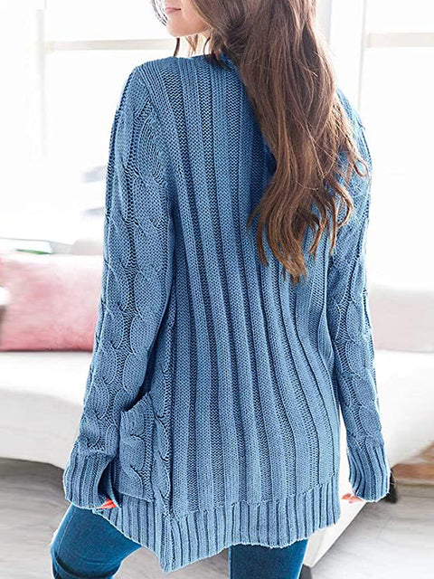 Color=Blue | Casual Warm Knitwear Buttoned Up Cardigan For Women-Blue 2