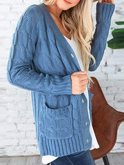 Color=Blue | Casual Warm Knitwear Buttoned Up Cardigan For Women-Blue 1