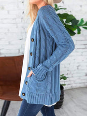 Color=Blue | Casual Warm Knitwear Buttoned Up Cardigan For Women-Blue 3