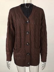 Color=Coffee | Casual Warm Knitwear Buttoned Up Cardigan For Women-Coffee 2