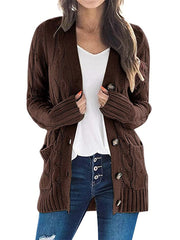 Color=Coffee | Casual Warm Knitwear Buttoned Up Cardigan For Women-Coffee 1