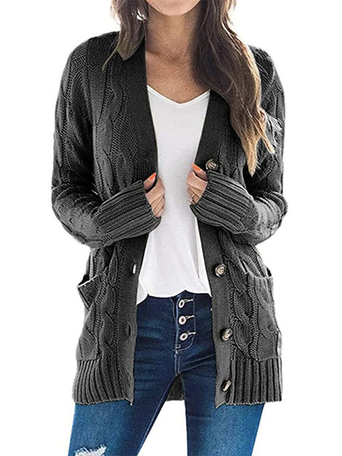 Color=Deep Grey | Casual Warm Knitwear Buttoned Up Cardigan For Women-Deep Grey 1