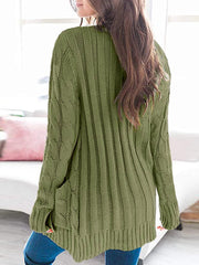 Color=Green | Casual Warm Knitwear Buttoned Up Cardigan For Women-Green 2