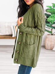 Color=Green | Casual Warm Knitwear Buttoned Up Cardigan For Women-Green 3