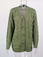 Color=Green | Casual Warm Knitwear Buttoned Up Cardigan For Women-Green 4