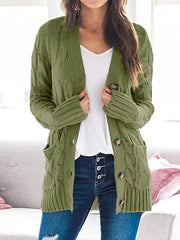 Color=Green | Casual Warm Knitwear Buttoned Up Cardigan For Women-Green 1