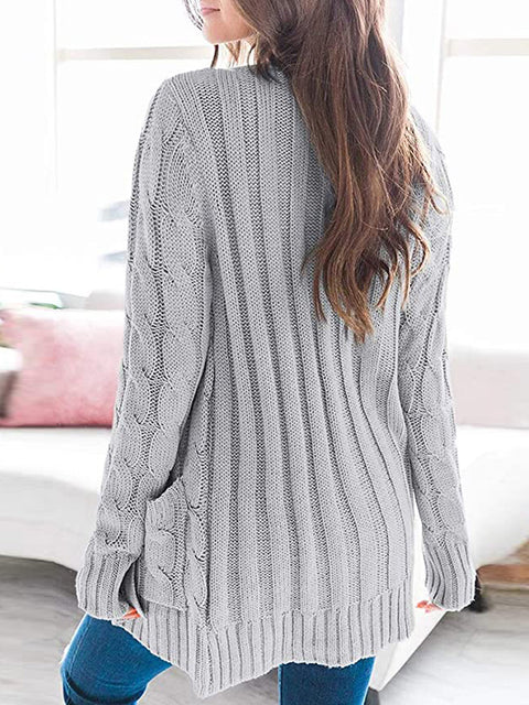 Color=Grey | Casual Warm Knitwear Buttoned Up Cardigan For Women-Grey 2