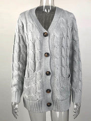 Color=Grey | Casual Warm Knitwear Buttoned Up Cardigan For Women-Grey 3
