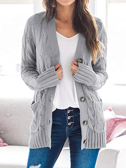 Color=Grey | Casual Warm Knitwear Buttoned Up Cardigan For Women-Grey 1
