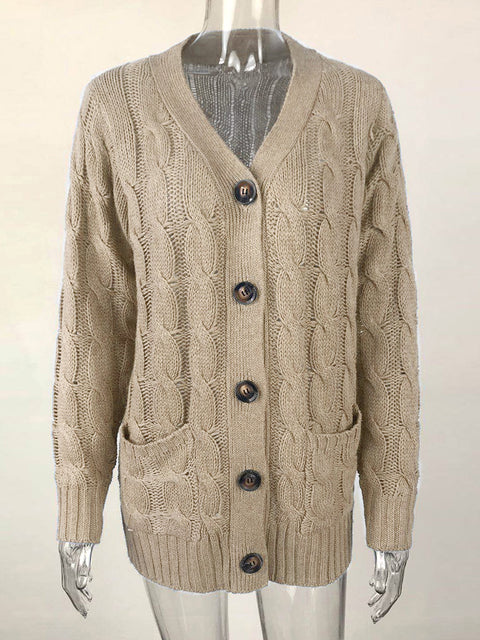 Color=Khaki | Casual Warm Knitwear Buttoned Up Cardigan For Women-Khaki 2