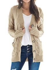 Color=Khaki | Casual Warm Knitwear Buttoned Up Cardigan For Women-Khaki 1