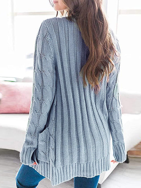 Color=Sky Blue | Casual Warm Knitwear Buttoned Up Cardigan For Women-Sky Blue 2