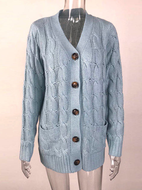 Color=Sky Blue | Casual Warm Knitwear Buttoned Up Cardigan For Women-Sky Blue 3