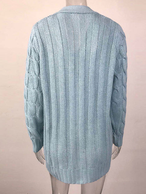 Color=Sky Blue | Casual Warm Knitwear Buttoned Up Cardigan For Women-Sky Blue 4