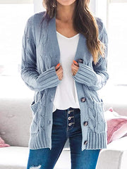 Color=Sky Blue | Casual Warm Knitwear Buttoned Up Cardigan For Women-Sky Blue 1