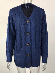 Color=Navy Blue | Casual Warm Knitwear Buttoned Up Cardigan For Women-Navy Blue 2