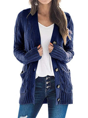 Color=Navy Blue | Casual Warm Knitwear Buttoned Up Cardigan For Women-Navy Blue 1