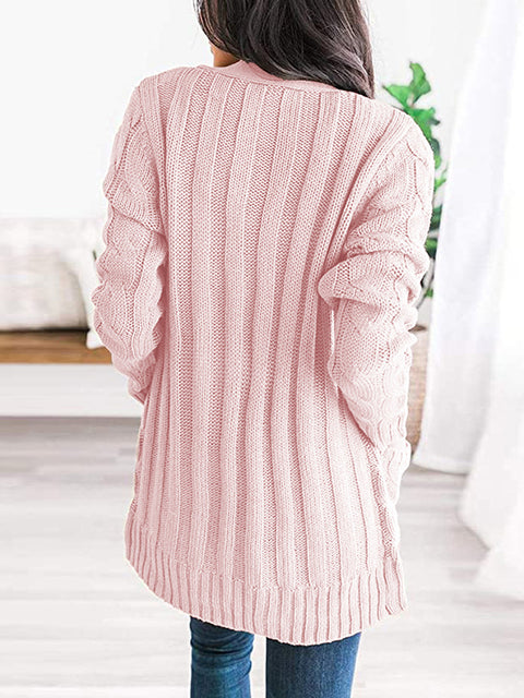 Color=Pink | Casual Warm Knitwear Buttoned Up Cardigan For Women-Pink 2