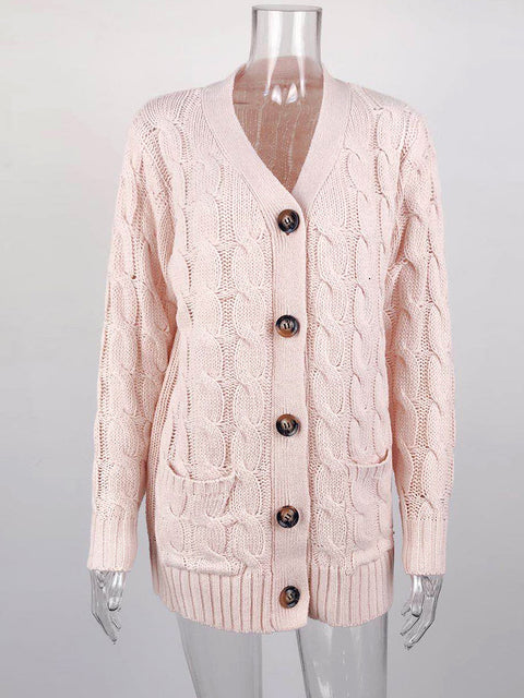 Color=Pink | Casual Warm Knitwear Buttoned Up Cardigan For Women-Pink 3