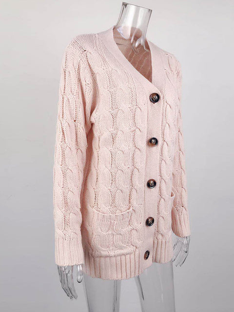 Color=Pink | Casual Warm Knitwear Buttoned Up Cardigan For Women-Pink 4