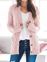 Color=Pink | Casual Warm Knitwear Buttoned Up Cardigan For Women-Pink 1