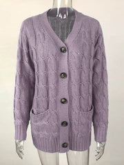 Color=Purple | Casual Warm Knitwear Buttoned Up Cardigan For Women-Purple 2