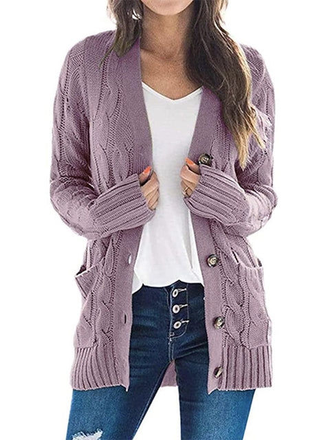 Color=Purple | Casual Warm Knitwear Buttoned Up Cardigan For Women-Purple 1