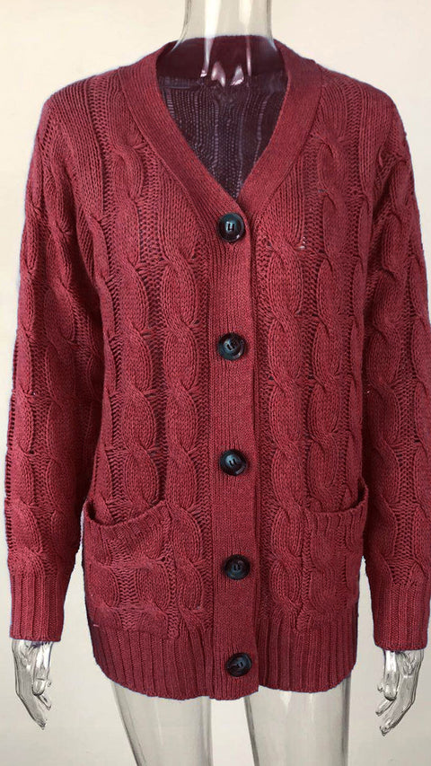 Color=Red | Casual Warm Knitwear Buttoned Up Cardigan For Women-Red 5