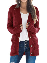 Color=Red | Casual Warm Knitwear Buttoned Up Cardigan For Women-Red 4