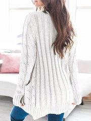 Color=White | Casual Warm Knitwear Buttoned Up Cardigan For Women-White 2