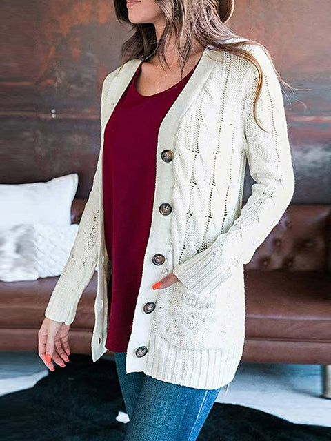 Color=White | Casual Warm Knitwear Buttoned Up Cardigan For Women-White 3