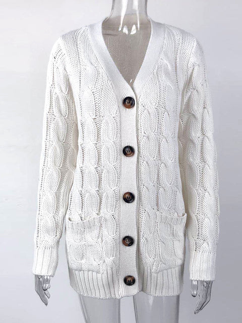 Color=White | Casual Warm Knitwear Buttoned Up Cardigan For Women-White 4