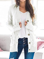 Color=White | Casual Warm Knitwear Buttoned Up Cardigan For Women-White 1