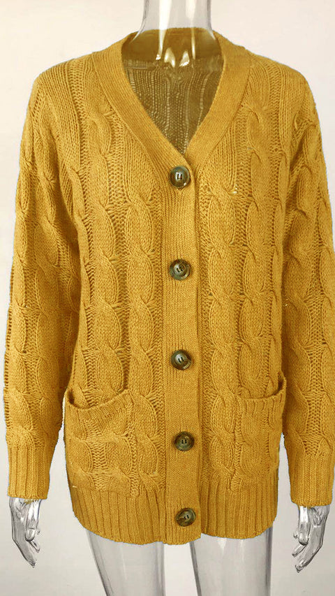 Color=Yellow | Casual Warm Knitwear Buttoned Up Cardigan For Women-Yellow 2