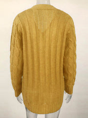 Color=Yellow | Casual Warm Knitwear Buttoned Up Cardigan For Women-Yellow 3