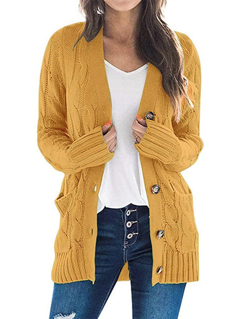 Color=Yellow | Casual Warm Knitwear Buttoned Up Cardigan For Women-Yellow 1