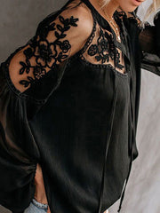 Color=Black | Flattering Long Sleeves See-Through Blouses-Black 4