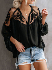 Color=Black | Flattering Long Sleeves See-Through Blouses-Black 1