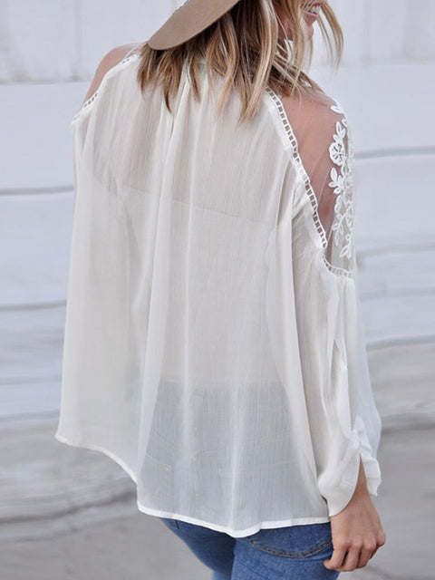 Color=White | Flattering Long Sleeves See-Through Blouses-White 2