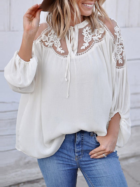 Color=White | Flattering Long Sleeves See-Through Blouses-White 3