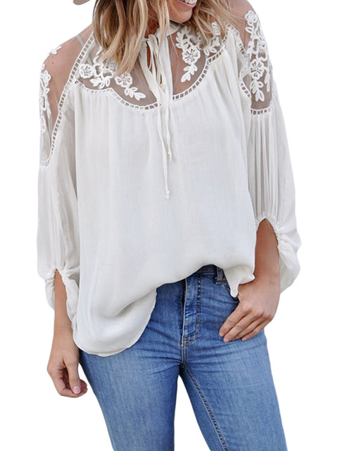 Color=White | Flattering Long Sleeves See-Through Blouses-White 4