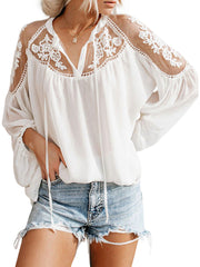 Color=White | Flattering Long Sleeves See-Through Blouses-White 1